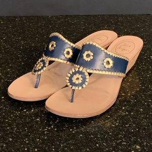 Jack Rogers Navy/Gold Mid Wedge Sandals. Size 10M